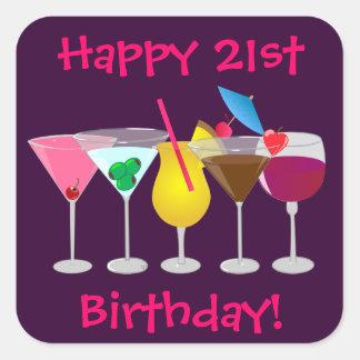 Happy 21st Birthday Party Drinks Stickers