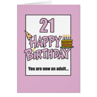 Happy 21st Birthday Pink Greeting Card