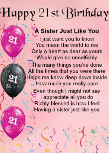Sisters 21st Birthday Gifts Gift Ideas Zazzle Uk