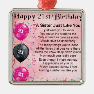 Happy 21st Birthday Sister Poem Christmas Ornament