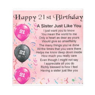 Happy 21st Birthday Sister Poem Notepad