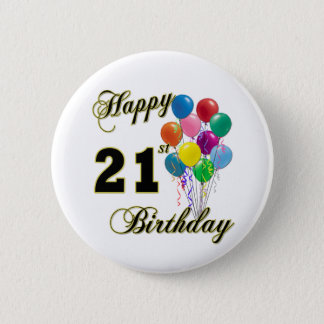 Happy 21st Birthday with Balloons 6 Cm Round Badge