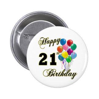 Happy 21st Birthday with Balloons 6 Cm Round Badge