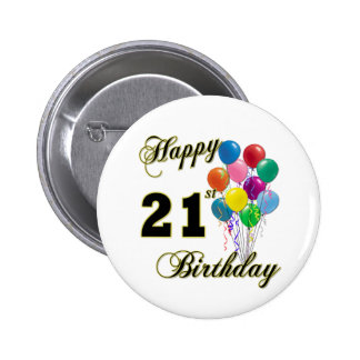 Happy 21st Birthday with Balloons Pins
