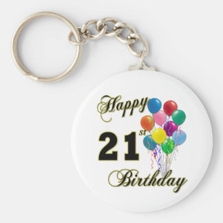 Happy 21st Birthday with Balloons Key Ring
