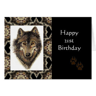 Happy 21st Birthday with Watercolor Wolf Greeting Card