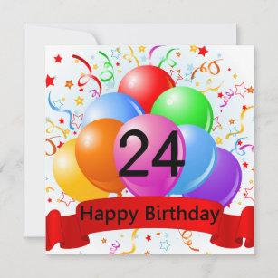 Happy 24th Birthday Balloons Banner Card