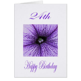 Happy 24th Birthday purple Blossom Card