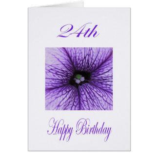 Happy 24th Birthday purple Blossom Greeting Card