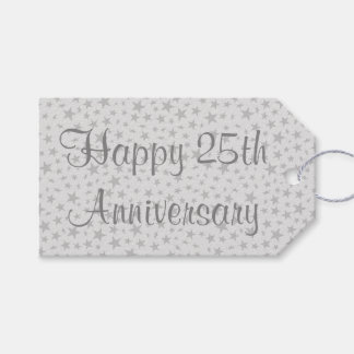 Happy 25th Anniversary Silver Stars Gift Tags