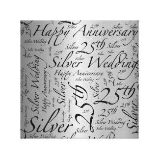 Happy 25th Anniversary Word Art Graphic Canvas Print