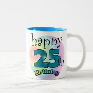 Happy 25th Birthday (blue) Two-Tone Mug
