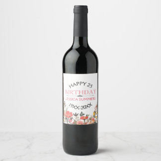 Happy 25th Birthday Colorful Flowers Text Template Wine Label