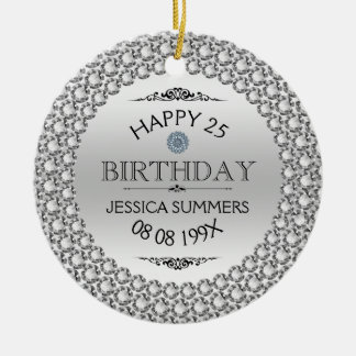 Happy 25th Birthday Diamonds & Silver Christmas Ornament