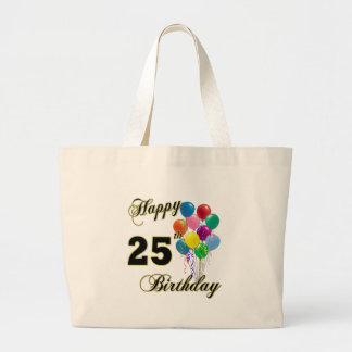 Happy 25th Birthday Gifts with Balloons Tote Bags