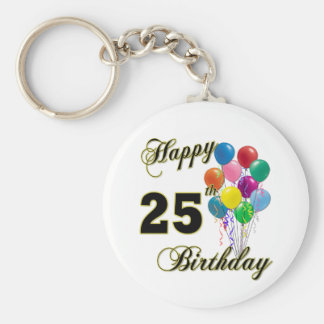 Happy 25th Birthday Gifts with Balloons Key Ring