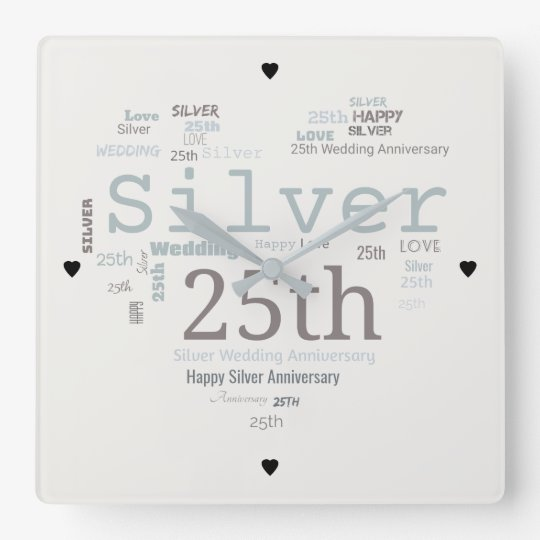 Happy 25th Silver Wedding Anniversary Word Cloud Square Wall Clock