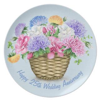 Happy 25th Wedding Anniversary Melamine Plate