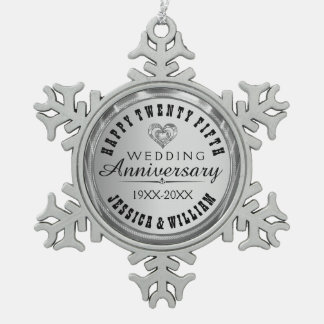 Happy 25Th Wedding Anniversary Pewter Snowflake Decoration