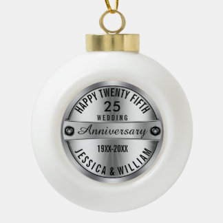 happy 25th Wedding Anniversary Silver & Diamonds Ceramic Ball Christmas Ornament