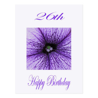 Happy 26th Birthday purple Blossom Postcard