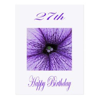 Happy 27th Birthday purple Blossom Postcard