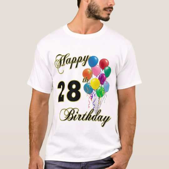 Happy 28th Birthday Balloons T-Shirt