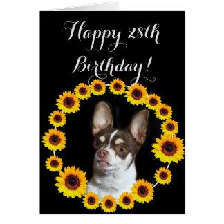 Happy 28th  Birthday Chihuahua  Greeting Card