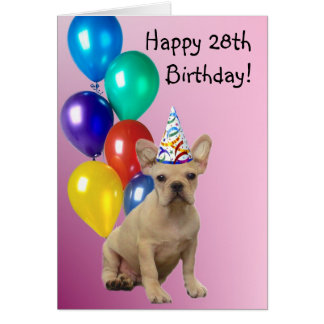 Happy 28th Birthday French Bulldog Greeting Card