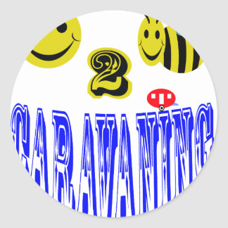 happy 2 bee caravaning round sticker