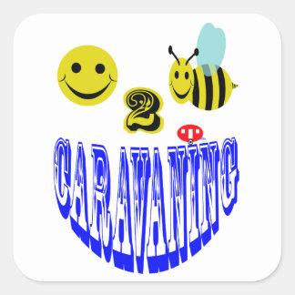 happy 2 bee caravaning square sticker