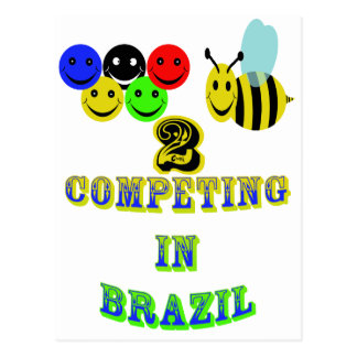 happy 2 bee competing in brazil postcard