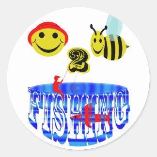 happy 2 bee fishing . round sticker