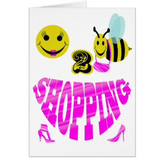 happy 2 bee shopping greeting card