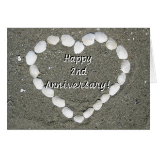Happy 2nd Anniversary Seashell heart greeting card