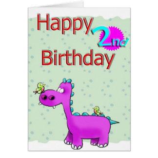 happy 2nd birth dinasaur card