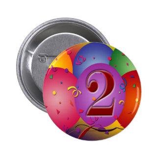 Happy 2nd Birthday Balloons 6 Cm Round Badge