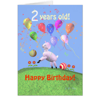 Happy 2nd Birthday Lamb and Balloons Card