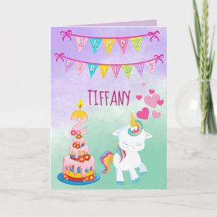 Happy 2nd Birthday Unicorn Theme Baby Girl Card