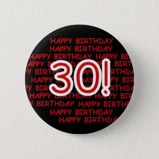 Happy 30th Birthday 6 Cm Round Badge