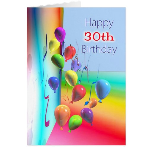 Happy 30th Birthday Balloon Wall Greeting Cards