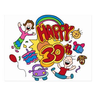 Happy 30th Birthday Cartoon Postcard