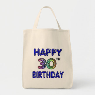 Happy 30th Birthday Design in Balloon Font Tote Bags