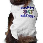 Happy 30th Birthday Design in Balloon Font Sleeveless Dog Shirt