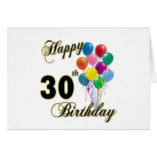 Happy 30th Birthday Gifts and Birthday Apparel Greeting Card