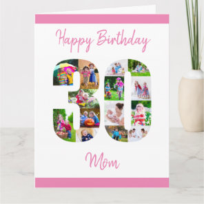 Happy 30th Birthday Mum 30 Number Photo Collage Card