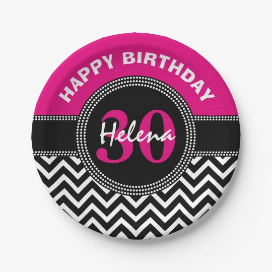 Happy 30th Birthday Pink Monogram Chevron 7 Inch