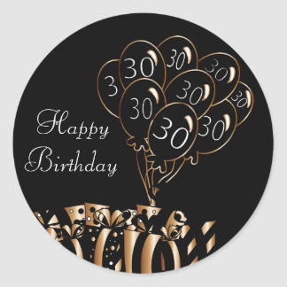Happy 30th Birthday Round Sticker
