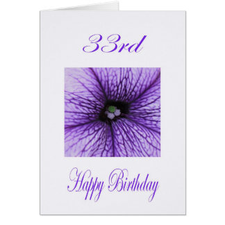 Happy 33rd Birthday purple Blossom Card