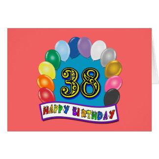 Happy 38th Birthday Balloon Arch Greeting Card